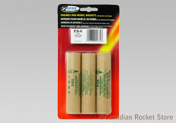 E9-6 Mid-Power rocket engines. 3 Pack