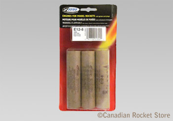 E12-8 Mid-Power rocket engines. 3 Pack