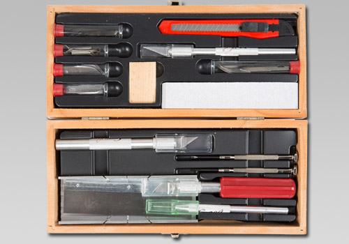 Deluxe Knife and Tool Set in a wooden chest